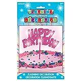 Flashing Pink Happy Birthday Cake Topper Decoration