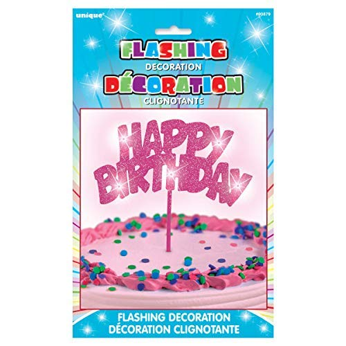 Flashing Pink Happy Birthday Cake Topper Decoration (Flashing Charm)