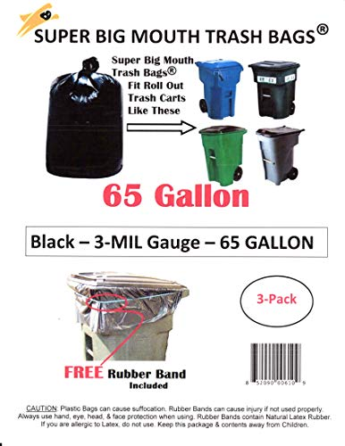 75% Recycled Trash Bags - 65 Gallon Super Big Mouth Trash Bags 3-Pack Plus 1 Free Rubber Tie Down Band