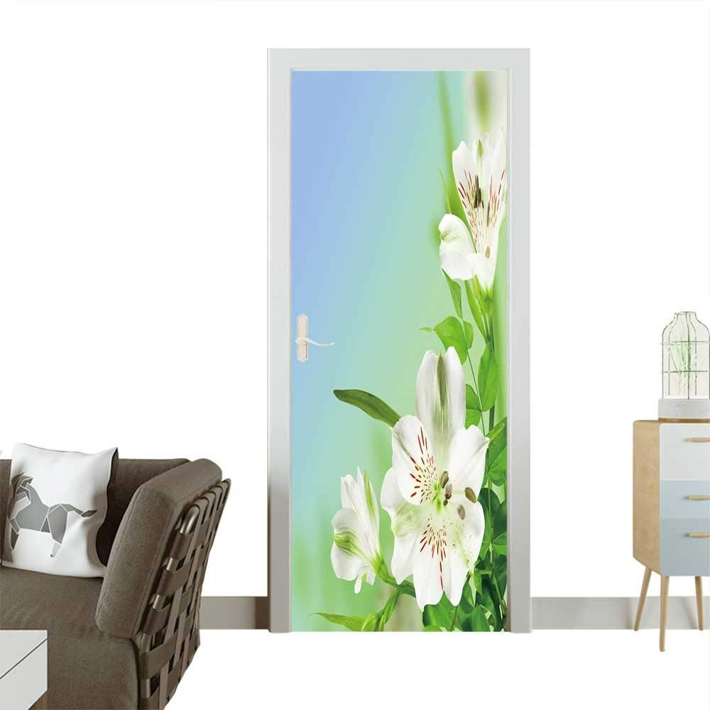 Modern Art Door Sticker Flowers White Lily with Green leafes on Blue Background Environmentally Friendly Decoration W38.5 x H79 INCH