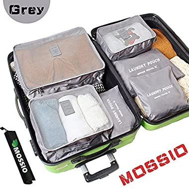 Luggage Organizer,Mossio 7 Piece Suitcase Portable Storage Packing Case Grey