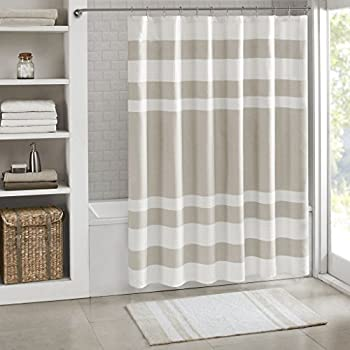 80OFF JLA Home INC Amherst Striped Fabric Brown Shower Curtain Pieced Transitional Simple