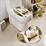 Printsonne Cushion Non-slip Toilet Mat digital fresco india with High Absorbency