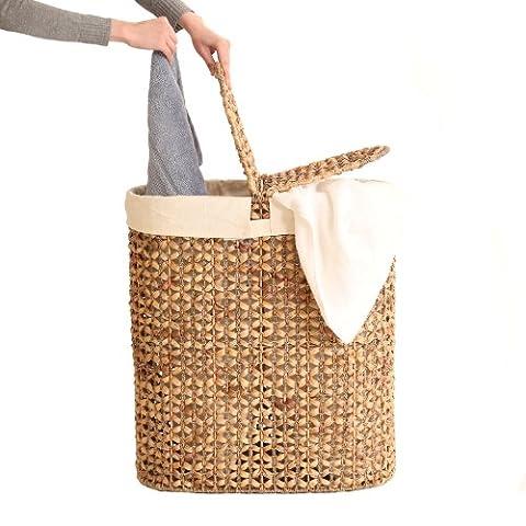 Seville Classics WEB223 Water Hyacinth Oval Double Hamper, Open Weave - Hand Woven Oval Basket