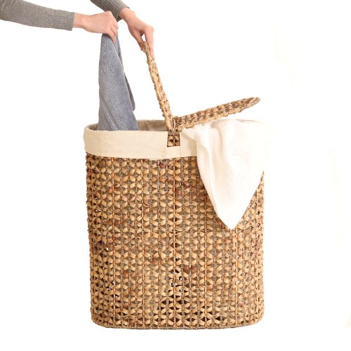 Seville Classics WEB223 Water Hyacinth Oval Double Hamper,