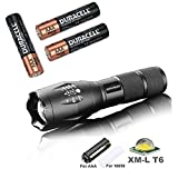 amiciKart LED Torch Flashlight 3800 Lumens, XML T6 Water Resistance 5 Modes Adjustable Focus For Camping Hiking With with Free 3 AAA Duracell Batteries