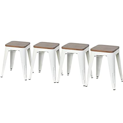 Tremendous Dekea Dining Metal Bar Stools With Wooden Top Seat Set Of 4 For Kitchen Or Indoor Outdoor Barstools White 18 Inch Creativecarmelina Interior Chair Design Creativecarmelinacom