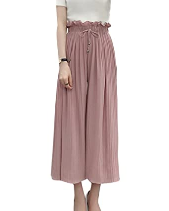 LaoZanA Damen Elegant Hose Mit Weitem Bein Chiffon Sommerhosen Freizeithose  Plissierte Schlaghosen Hosenrock Pink XL b31a32ca9a