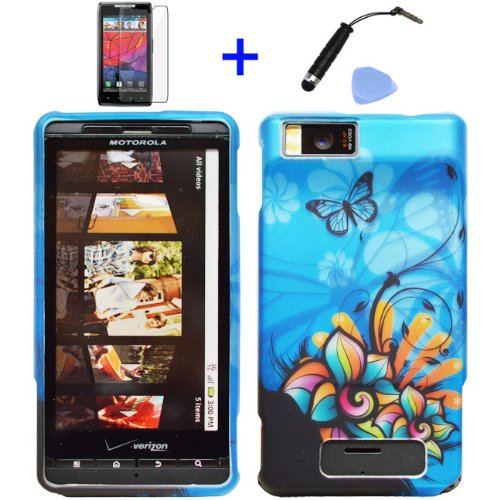 4-items-Combo-Stylus-Pen-Screen-Protector-Film-Case-Opener-Graphic-Case-Blue-Butterfly-Orange-Pink-Green-Color-Daisy-Flower-Design-Rubberized-Snap-on-Hard-Shell-Cover-Faceplate-Skin-Phone-Case-for-Ver