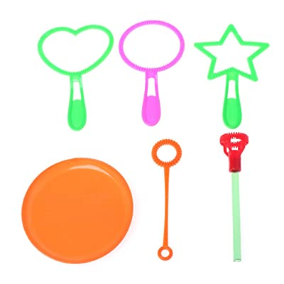 jinetor Blowing Bubble Soap Tools Toy Bubble Sticks Set Outdoor Toy Kids Toy 6Pcs Random Color: Home & Kitchen