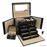 Novel Box Luxurious Black Leather Jewelry Travel Box and Case with Lock