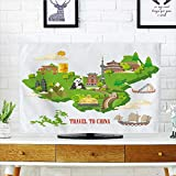 Philiphome Protect Your TV China Travel Vector Chinese Set with Architecture Food Costumes Traditional Protect Your TV W19 x H30 INCH/TV 32''