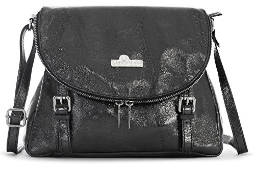 LIATALIA Medium Genuine Tuscan Italian Soft Leather Buckle Effect Cross Body Shoulder Handbag - STELLA [Metallic - Black]