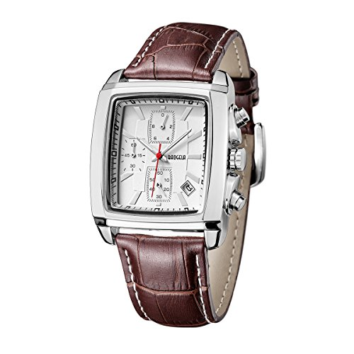 Mens Vintage Rectangular Leather Strap Analog Quartz Watch with Chronograph Date Waterproof
