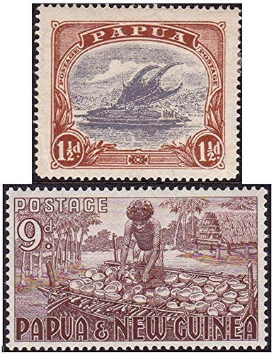 PG 1916 2 RARE ANCIENT EXOTIC MINT PAPUA (NEW GUINEA) STAMPS (1916/1952) EARTH TONE GEMS! MLH (Mint Never Used)