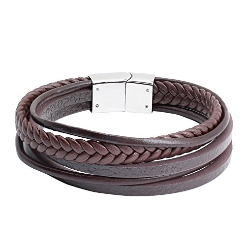 Jusnova Mens Braided Leather Bracelet Bangle Stainless Steel Magnetic Clasp 8.5 Inches Black & Brown