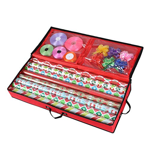Primode Storage Organizer for 30 Inch Wrapping Paper, Ribbon and Bows Durable 600D Oxford Material (Red) ()