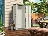 Suncast Vertical Outdoor Storage Shed for Backyards and Patios 20 Cubic ft Capacity for Tools and Garden Accessories, 22 cu, Vanilla and Stoney