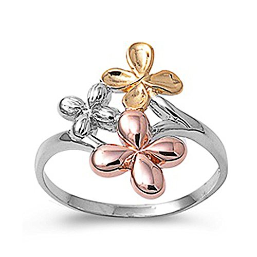 Double Accent Sterling Silver Plain Tri-tone Flower Ring 19mm (Size 5 to 10) Size 8 ()