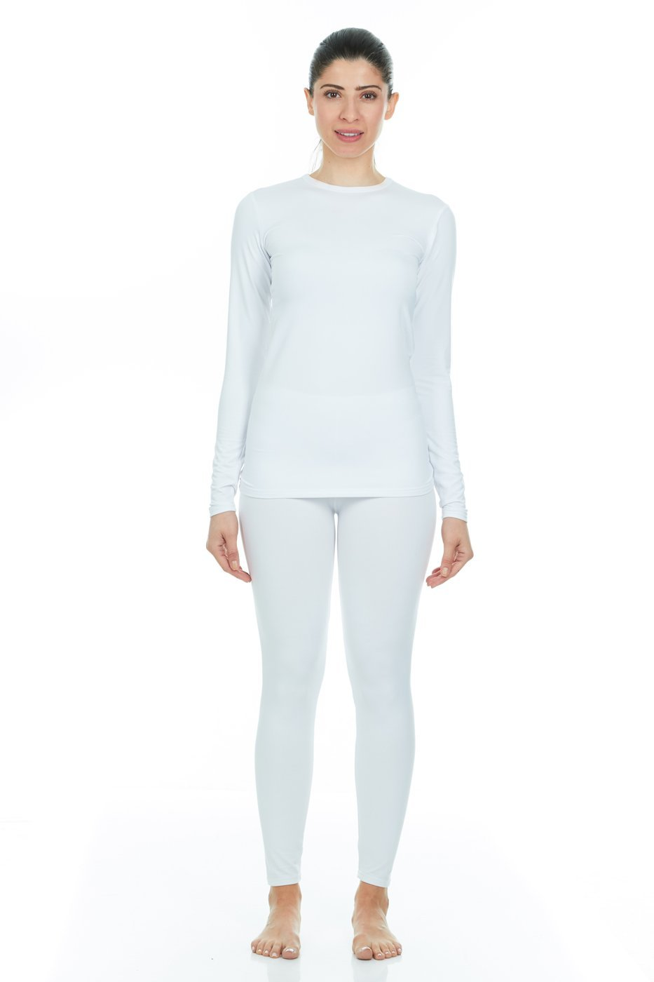37c4e7b8 Thermajane Women's Ultra Soft Thermal Underwear Long Johns Set with Fleece  Lined (X-Large, White): Amazon.in: Beauty