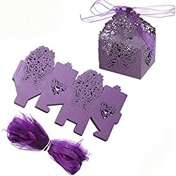 ZOOYOO Butterfly Laser Cut Hollow Candy Bag with Ribbons For Wedding Party Favor Boxes Chocolate Gift Boxes Bridal Birthday Shower-Pack of 50 Purple