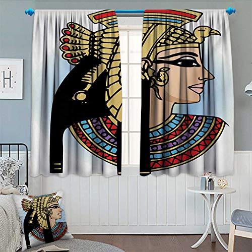 Chaneyhouse Egyptian Room Darkening Curtains Profile Portrait of Queen Cleopatra Ancient Cultures Civilization Antique Artwork Customized Curtains 55