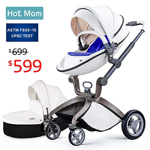 Baby Stroller 2018, Hot Mom Travel System Baby Carriage with Bassinet Combo,White,Baby Bid Gift