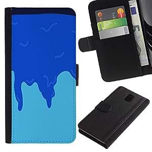 NEECELL GIFT forCITY // Billetera de cuero Caso Cubierta de protección Carcasa / Leather Wallet Case for Samsung Galaxy Note 3 III // ICE BLUE MINIMALISTA