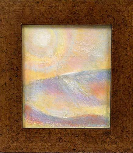 Sunrays Framed - Sundog acrylic painting, original small framed painting, acrylic on canvas, 8.75 x 9.75