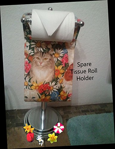 Cat Print Fabric Spare Bathroom Tissue Holder -