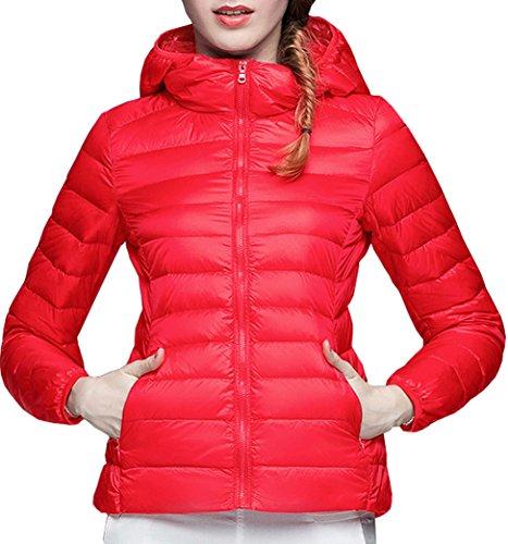 Giacche Cappuccio Invernale Lunga Giacca Con Rosso Giubbotto Piumino Donna Slim Autunno Cappotto Calda Elegante Moda Yeesea Manica xq8OwYTR