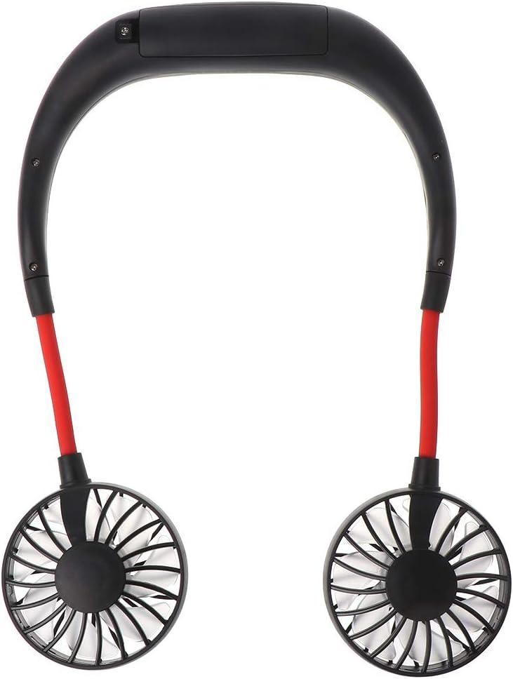 Rechargeable Headphone Design Wearable Fan with Dual Wind Head ForHe Hand Free Necklace Fan Mini Portable Personal Neckband Fan 5 Colors Optional