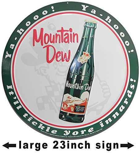Vintage Mountain Dew Large - cute vintage metal wall decor