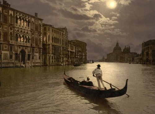 Grand Canal by moonlight, Venice, Italy 1890s photochrom. photochrom (also called the Aäc process) prints are colorized images produced from black and white photographic negatives via the direct photographic transfer of a negative on to lithographic printing plates. Vintage 8x10 Photograph - Ready to Frame
