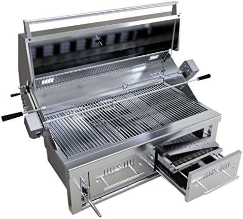 SUNSTONE EMCHDZ42 Hybrid Dual Zone Charcoal Wood Burning Grill