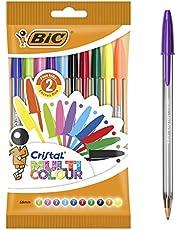 BIC Długopis Cristal Multicolor – zestaw długopisów (10 różnych kolorów do biura, szkoły i na co dzień) 1 woreczek z 10 sztukami