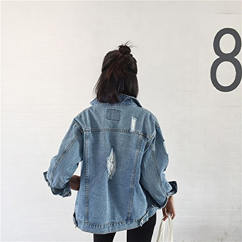 Di Donne Bomber Epoca Pic Fori Femme Cappotti Denim Di Elegante Giacca Come Casacos Sottile Base Jeans Feminino Strappato dqdFE