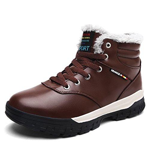COFACE Herren Warmer Ihnengefüllter Schneestiefel Winterstiefel Kurzschaft Wasserdicht Turnschuhe Bequem Sneaker Outdoor Boots Stiefel Für Winter Braun