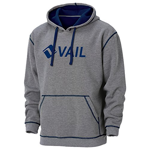 Ouray Sportswear Men's Vail Resort Transit Hoodie, Charcoal Heather/Navy, X-Large