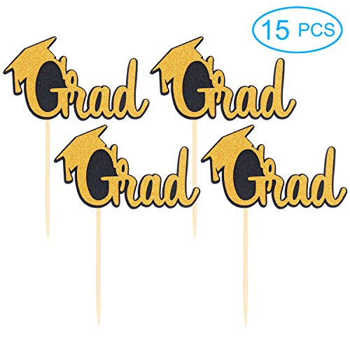 15PCS Double Sided Grad Cupcake Toppers - Food / Appetizer Picks Celebrate Grad Party Décor - Master Ph.D - High School College Class 2018 2019 Graduate Themes Party Graduation Cap -