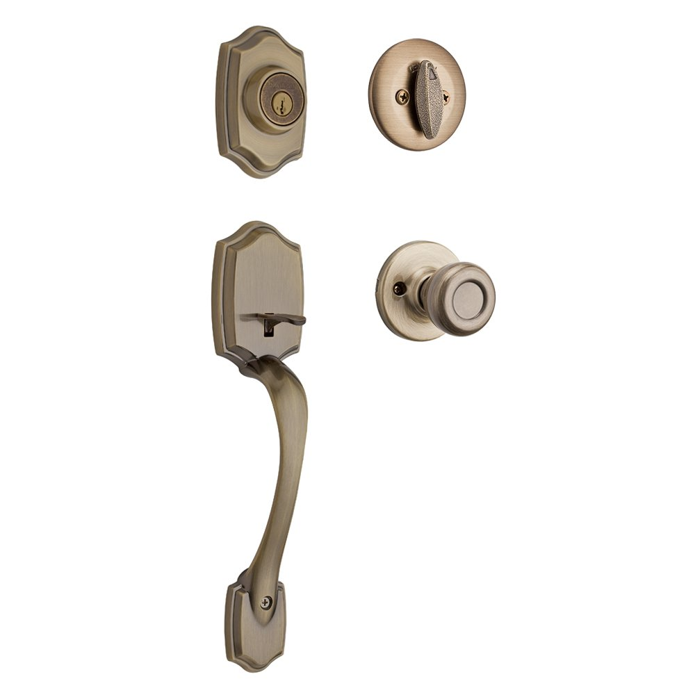 Kwikset 96870-098 Belleview Single Cylinder Handleset With Tylo Knob featuring SmartKey Security in Antique Brass