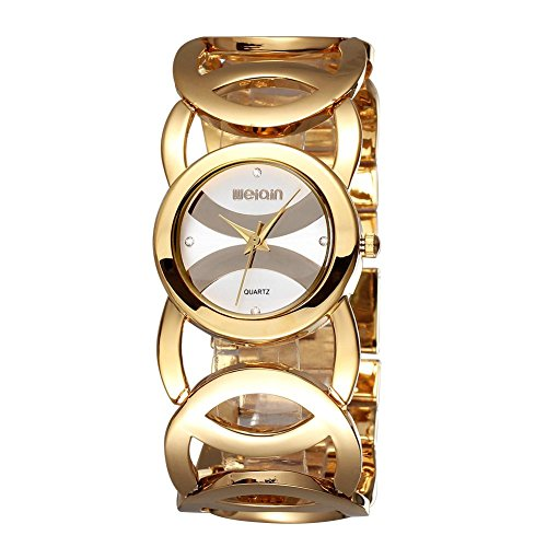 Women Jewelry Bracelet Wrist Quartz Watch - Luismia Gold Bangle Hollow-out Watches with Rhinestone - Female Luxury Brand New Dress Watches-Big Chain Cross Alloy Circle Lady Wrist - Eco Ladies Bangle Drive Bracelet