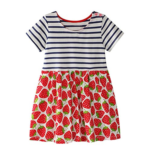 Vincent&July Toddler Baby Kid Girl Clothes Summer Strawberry Pattern Dress Sundress Outfit (6T(5-6Years Old), Red) - Kid Attractive Dress Clothes