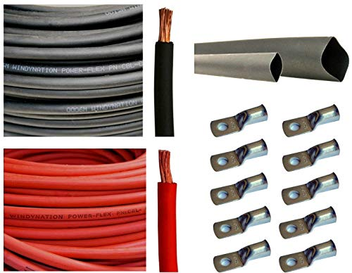 WNI 2/0 AWG 2/0 Gauge 5 Feet Black + 5 Feet Red Battery Welding Pure Copper Ultra Flexible Cable + 5pcs of 5/16