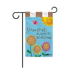 Grandkids Always Welcome Sunflowers Garden Flag Grandma's Garden Butterfly Banner for Outside 12.5X18 Inch Double Sided
