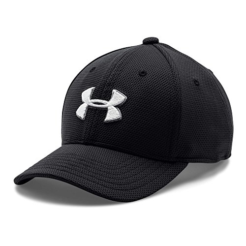 Under Armour Boys' Blitzing II Stretch Fit Cap, Black /White
