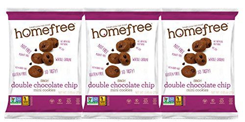 Homefree Treats You Can Trust Gluten Free Mini Double Chocolate Chip Cookie, Single Serve bag, 0.95 Ounce (Pack of 30) ()