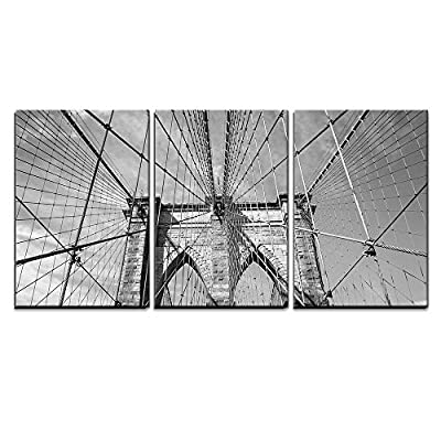 3 Piece Canvas Wall Art - Brooklyn Bridge New York City, USA in Black and White - Modern Home Art Stretched and Framed Ready to Hang - 24