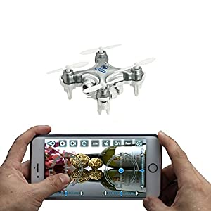 Cheerson CX-10W 4CH 2.4GHz 6 Axis Gyro iOS / Android APP Wifi Romote Control RC FPV Real Time Video Mini Quadcopter Helicopter Drone with 0.3MP HD Camera Silver 51JTSR8tb2L