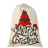 SHUNHAO Extra Large Cotton Santa Bag with Drawstring Tie Closure Cotton Large Storage Bag (Striped Christmas Tree)